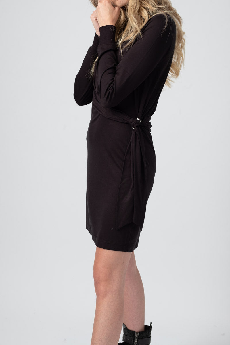 Draped Shaw Mini Dress in Black
