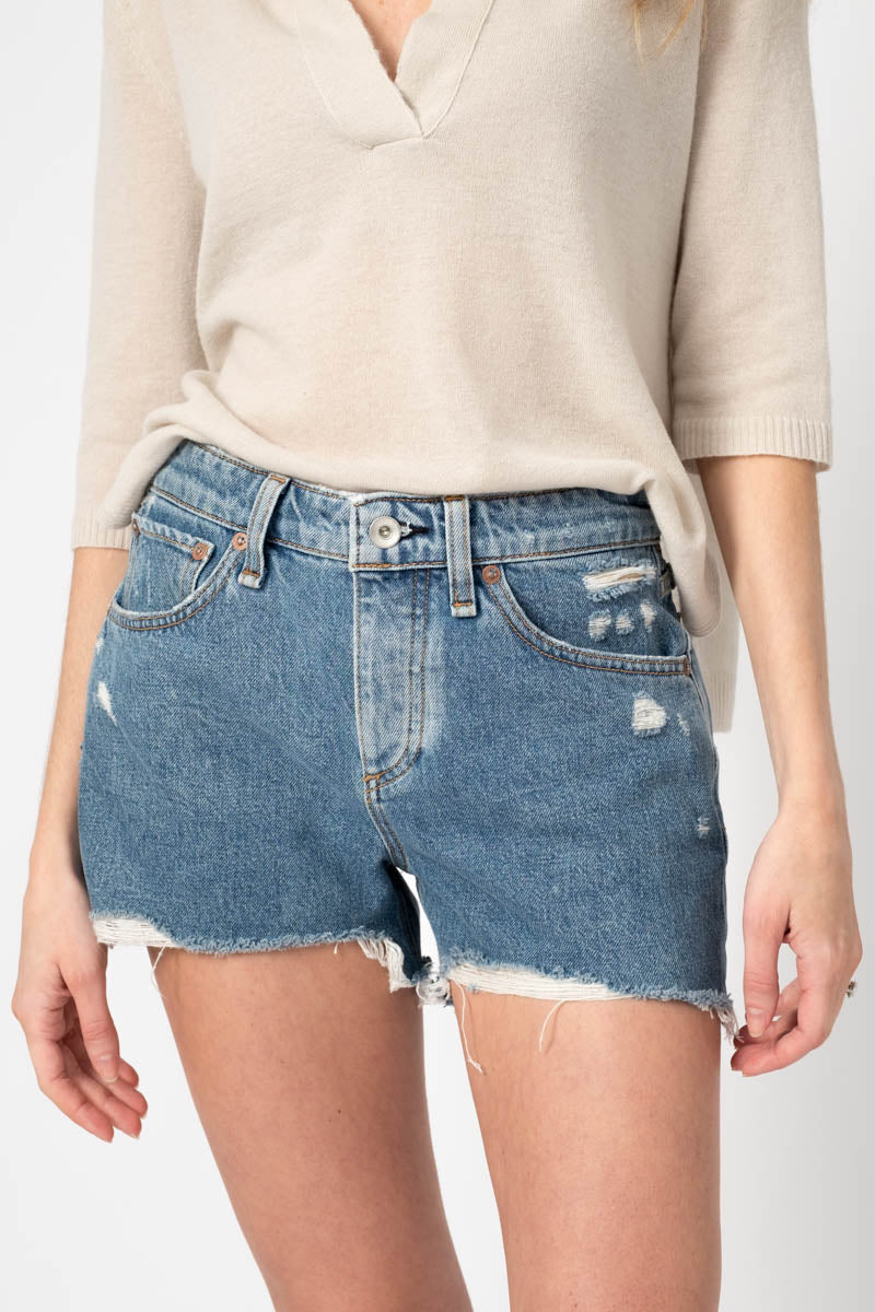 Dre Low-Rise Denim Shorts in Misha Destructed