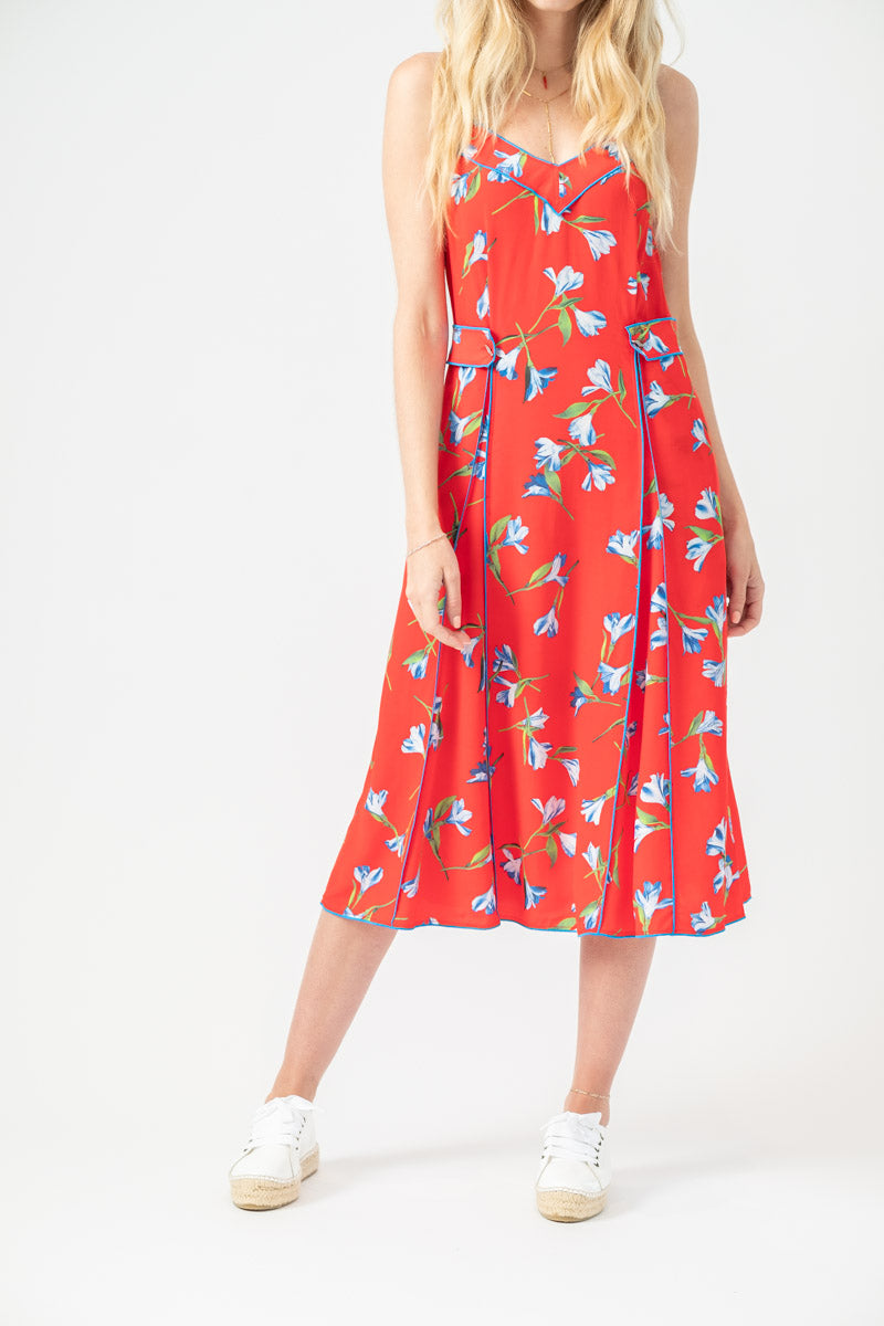 Hugo Tank Dress in Red Floral