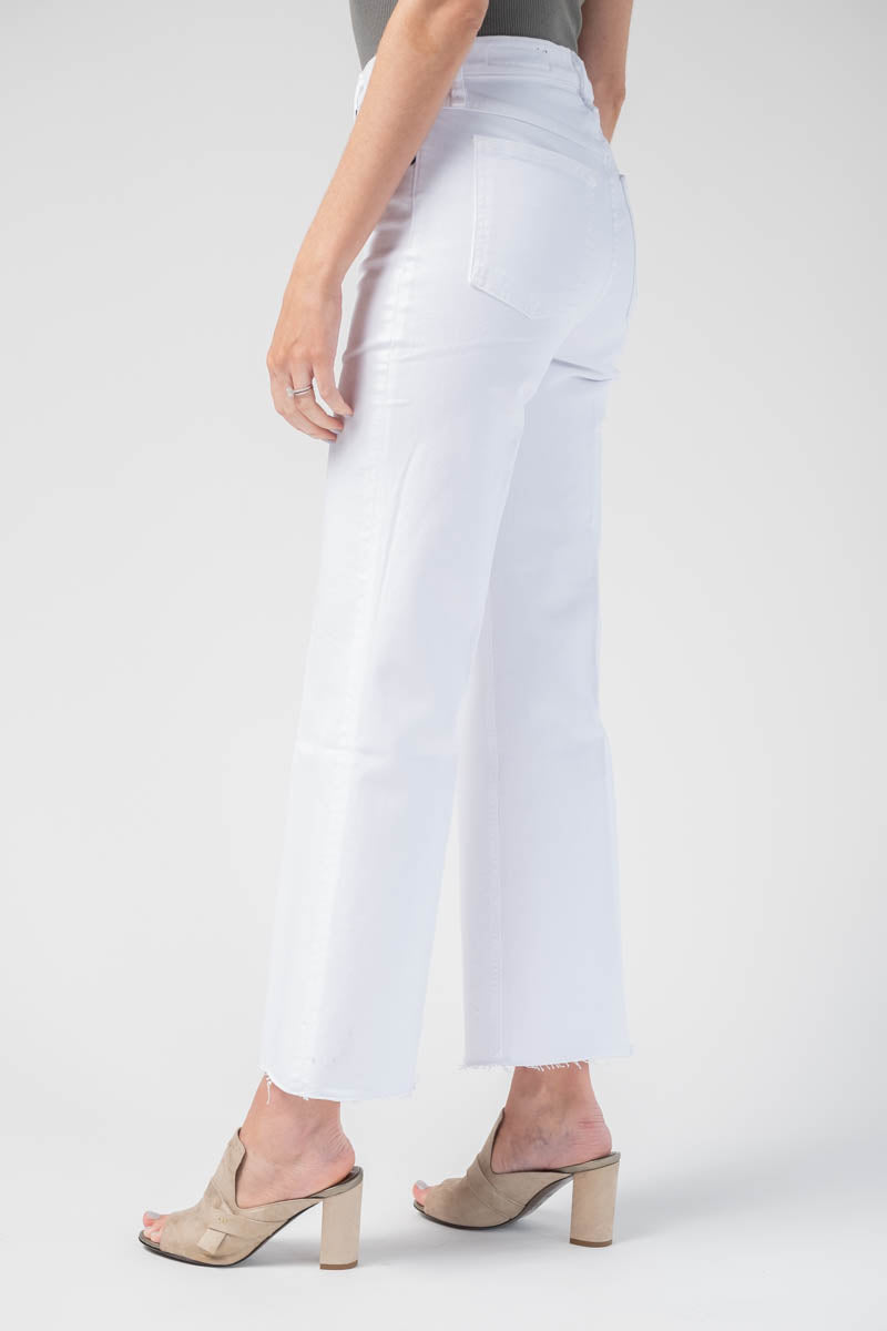 Justine Wide Leg Ankle Jean in White