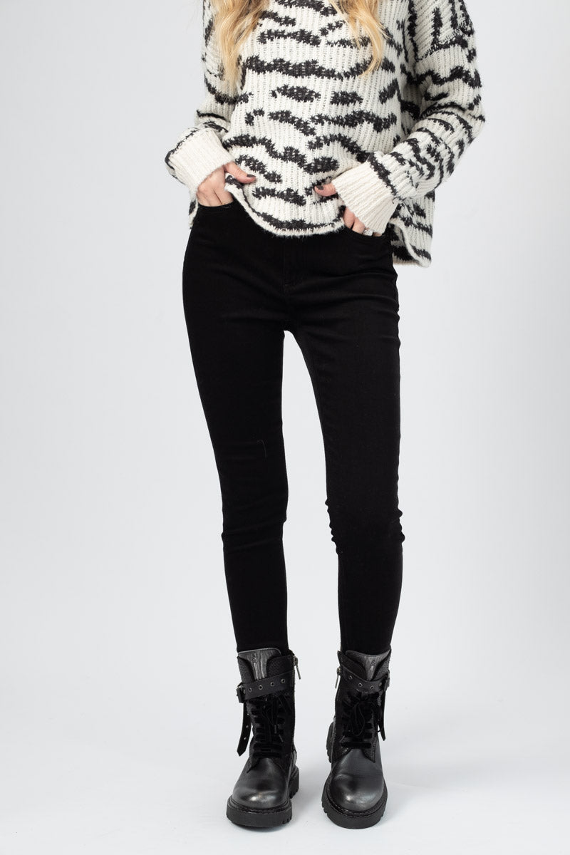 Nina High Rise Ankle Skinny Jean in Black