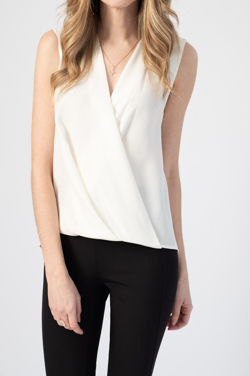 Sleeveless Victor Blouse in White