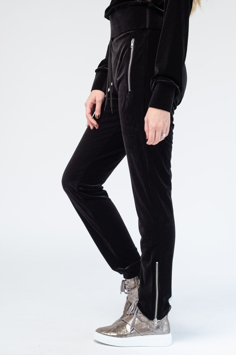 Velvet Zip Track Pant in Black
