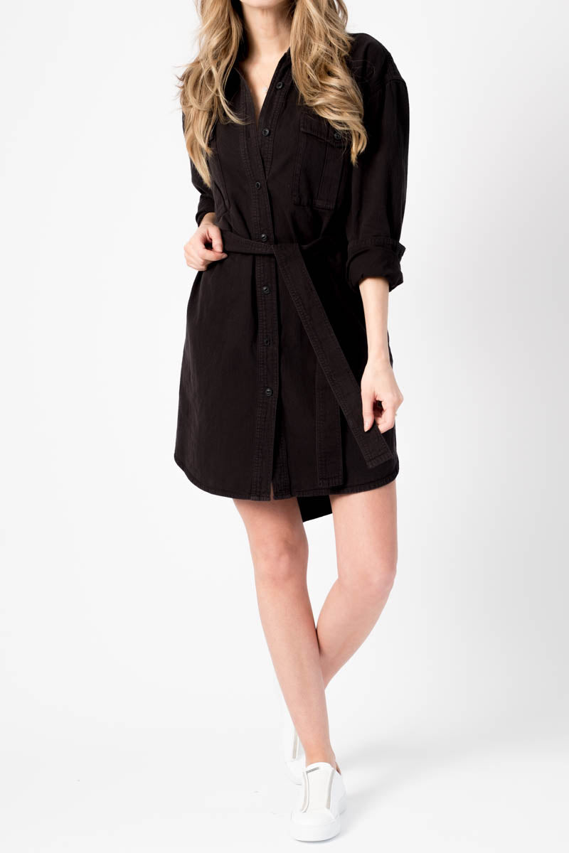 Full Placket Shirt Dress in Black