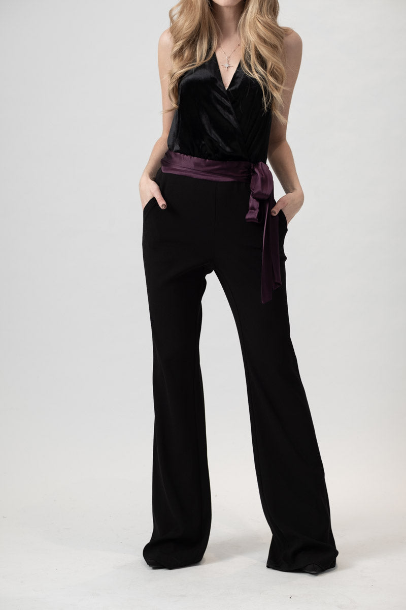 Nina Jumpsuit in Black / Merlot