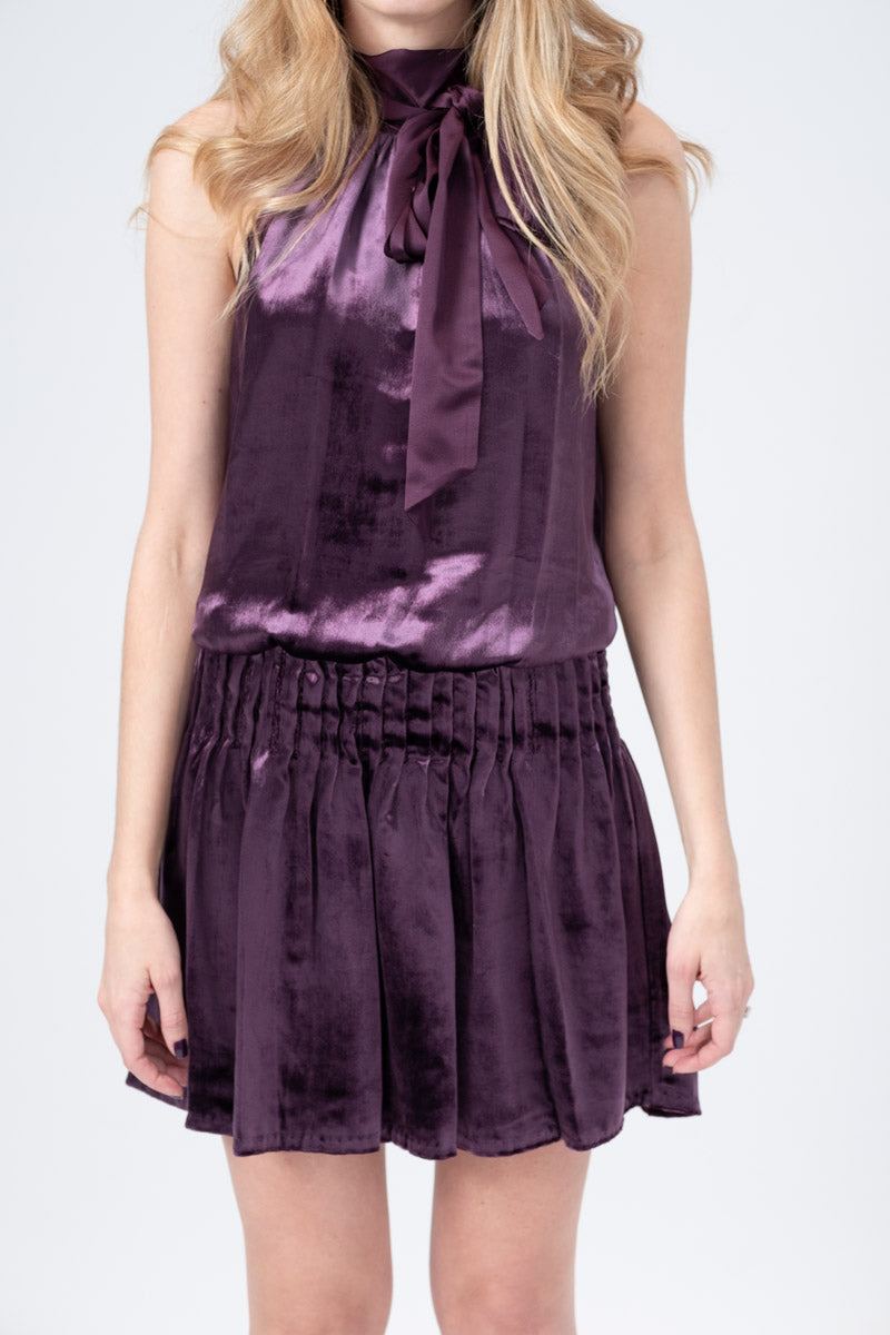 Velvet Paige Dress in Merlot