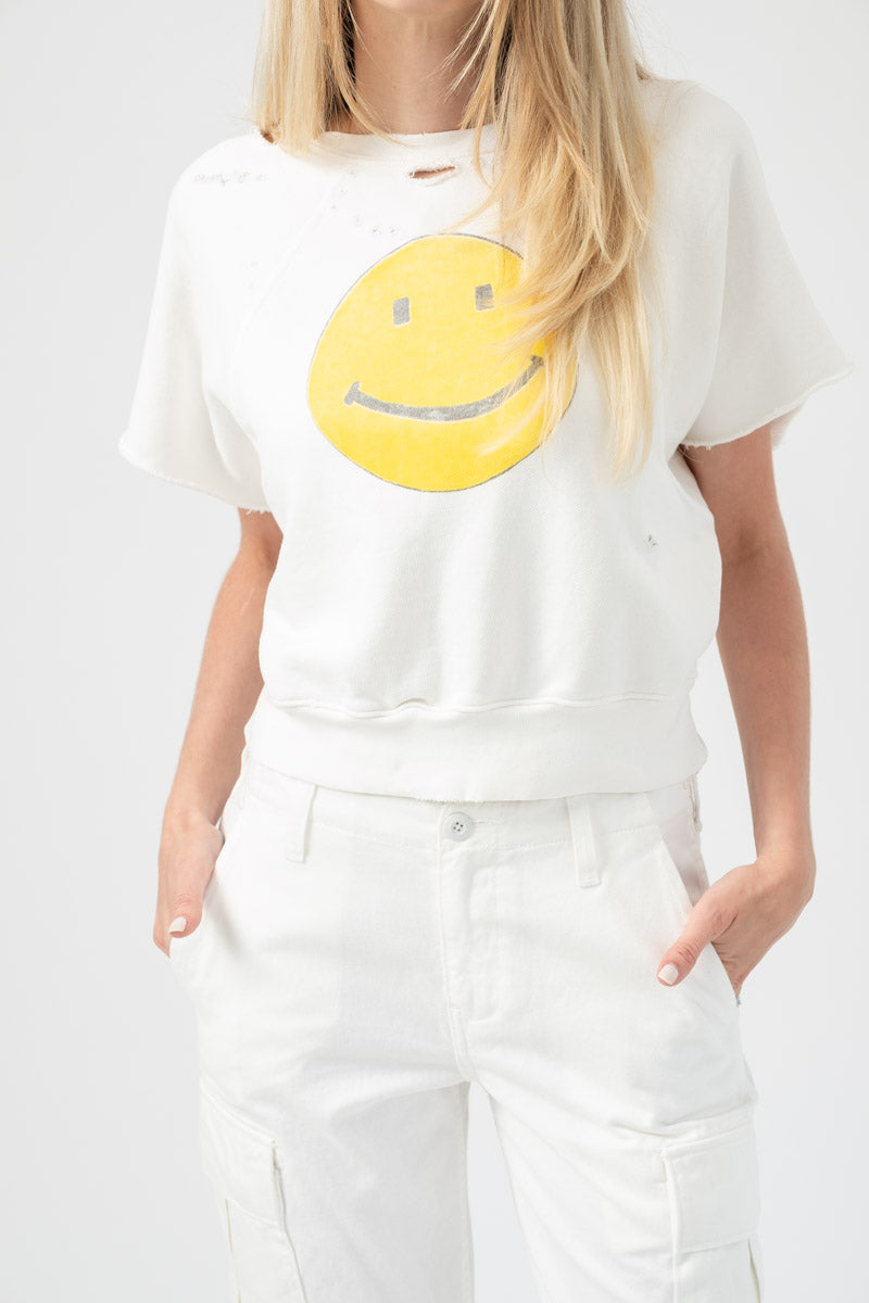 Raw Short Sleeve Smiley Sweatshirt in Off White