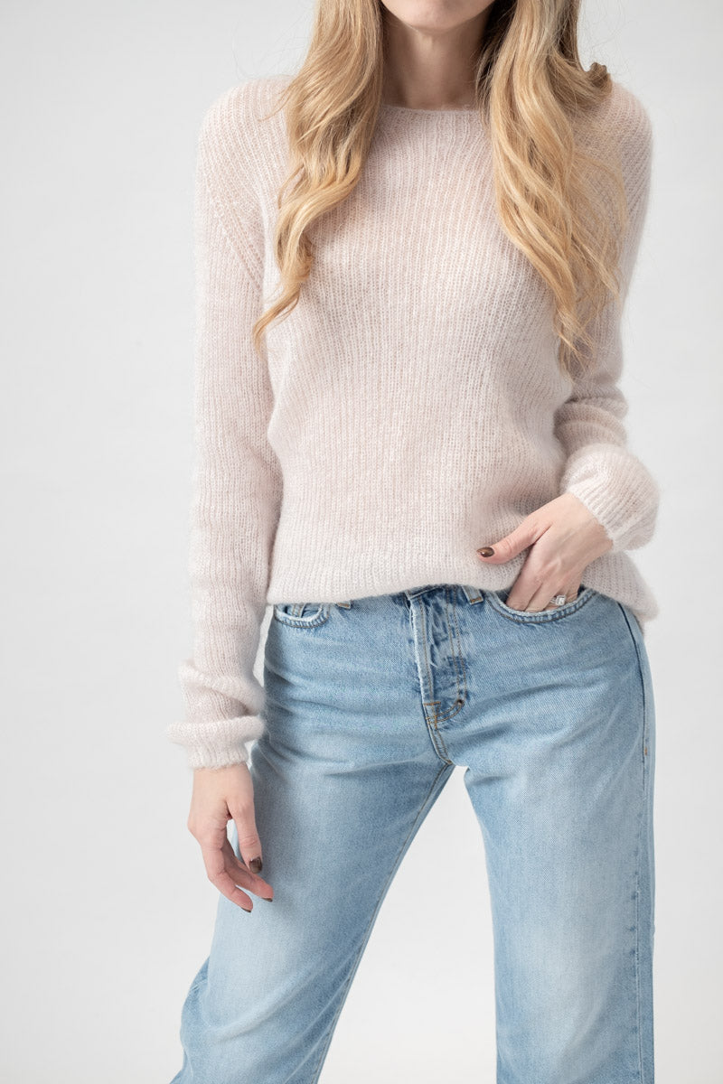 Knit Round Neck Sweater in Polvere