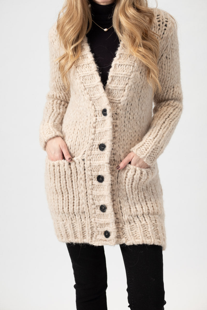 Long Chunky Knit Cardigan in Beige