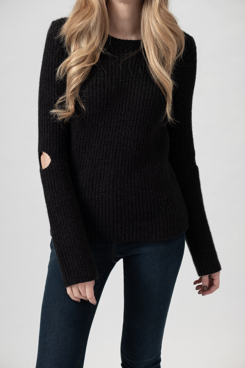 Round Neck Sweater with Elbow Slit in Black