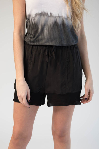Black Cupro Shorts