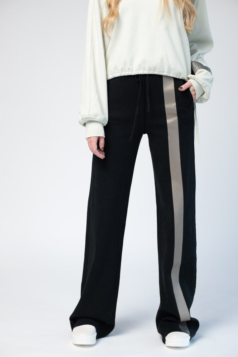 Black Knit Sweatpants with Shiny Tape Stripe