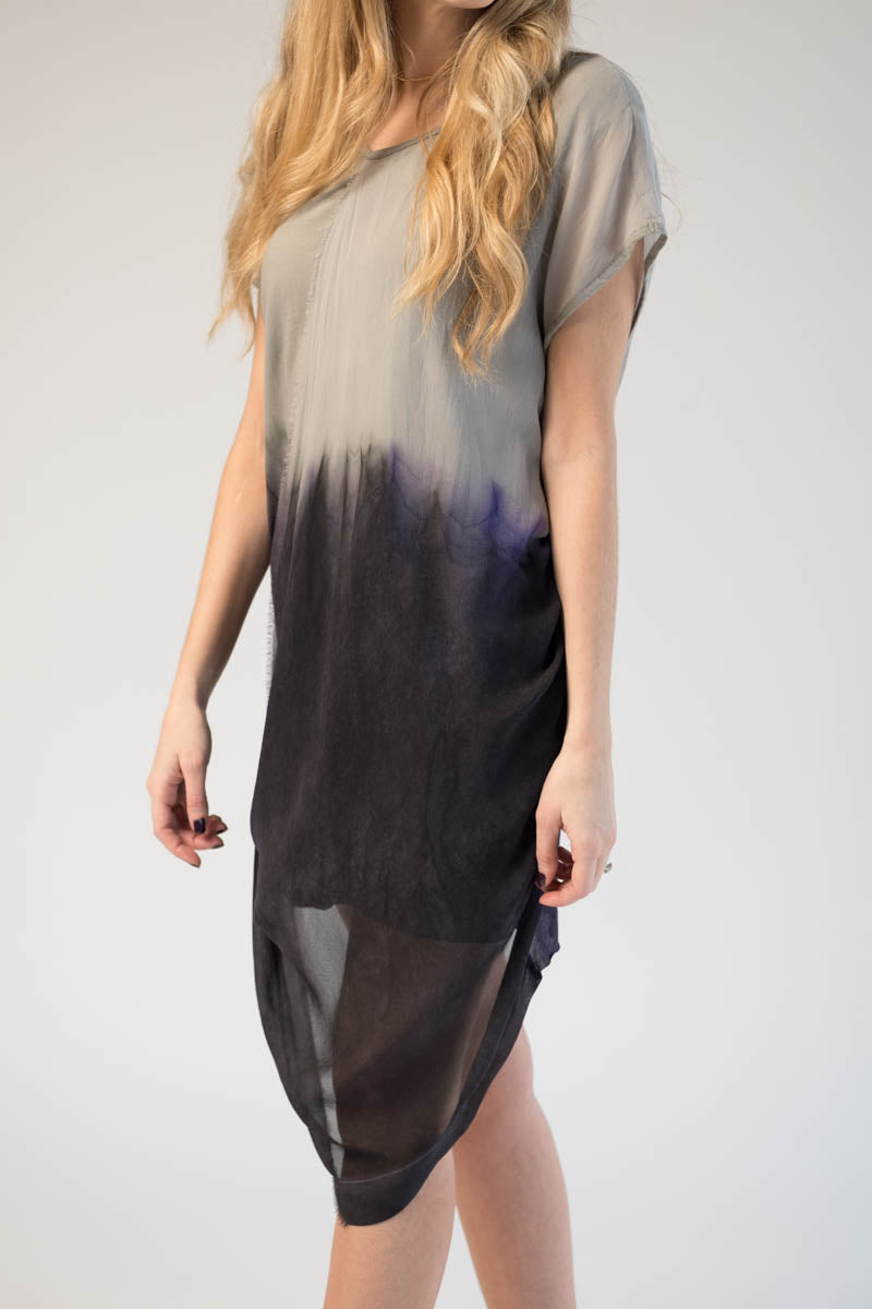 Sand/Deep Purple Dyed Cotton and Silk Dress