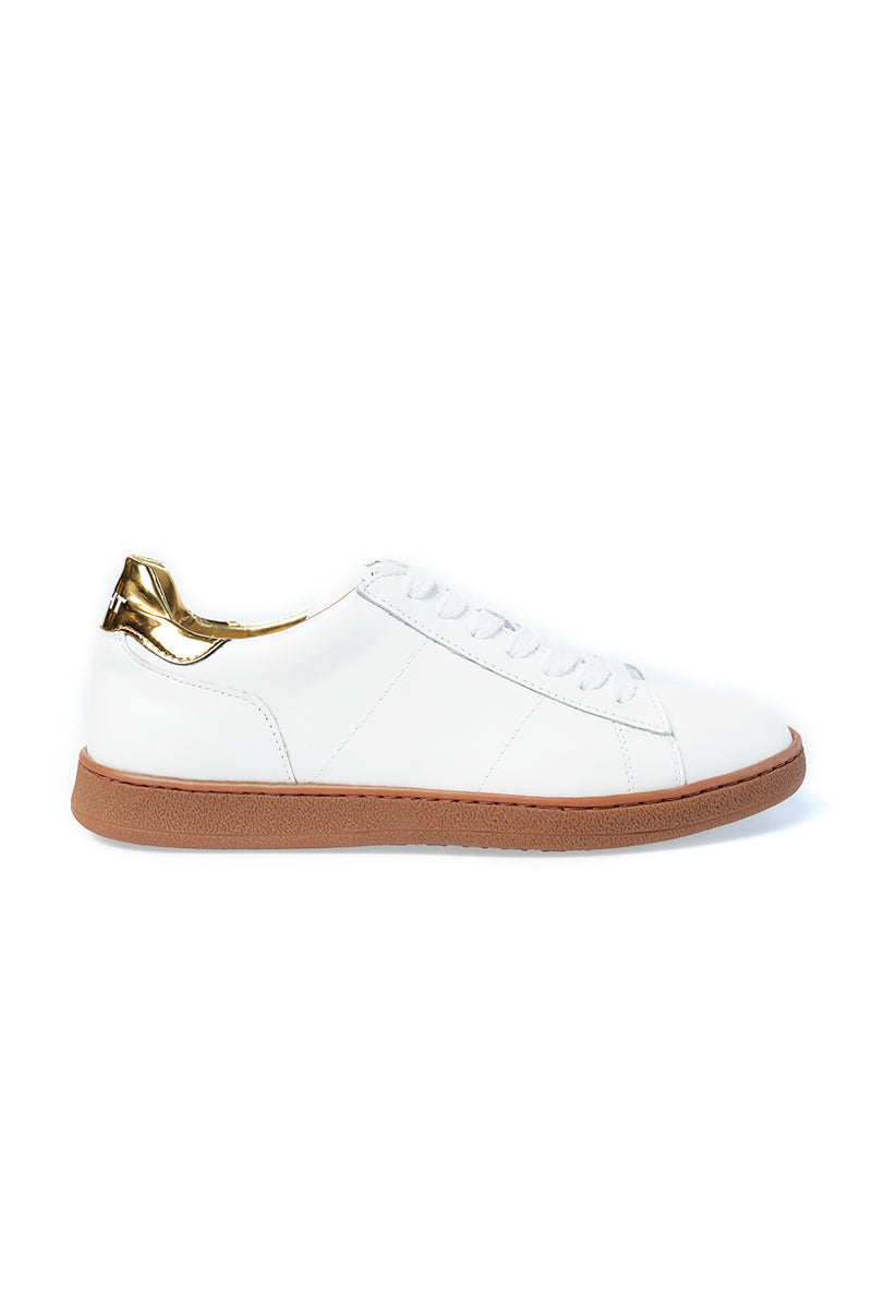 8c32e7beaae White and Gold Leather Sneaker with Honey Sole ...