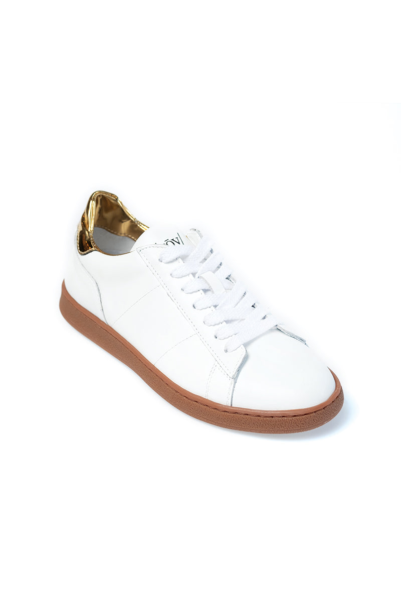 White and Gold Leather Sneaker with Honey Sole