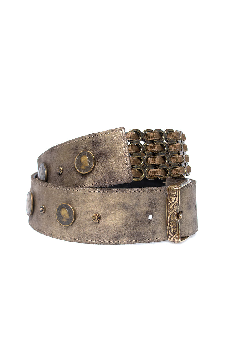 Coin Leather Belt in Vintage Gold