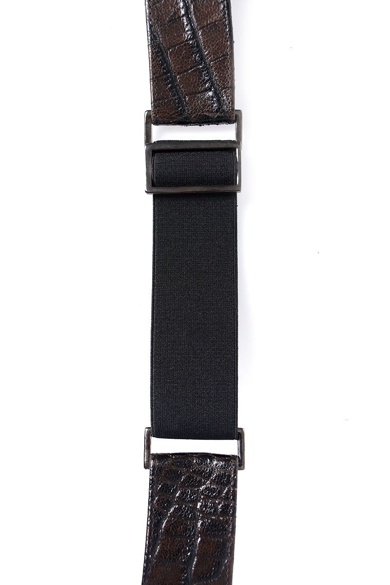 Leather Belt in Brown Croc