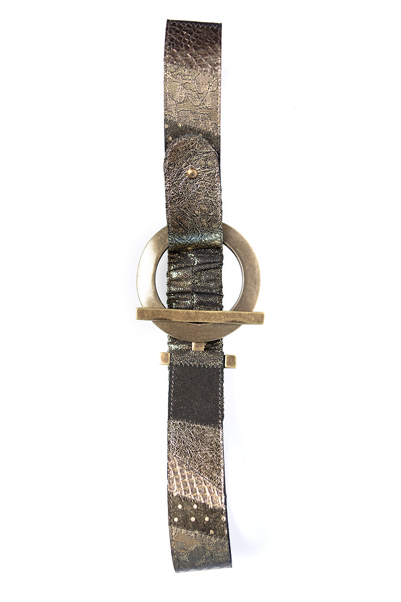 Patchwork Leather Belt in Gold