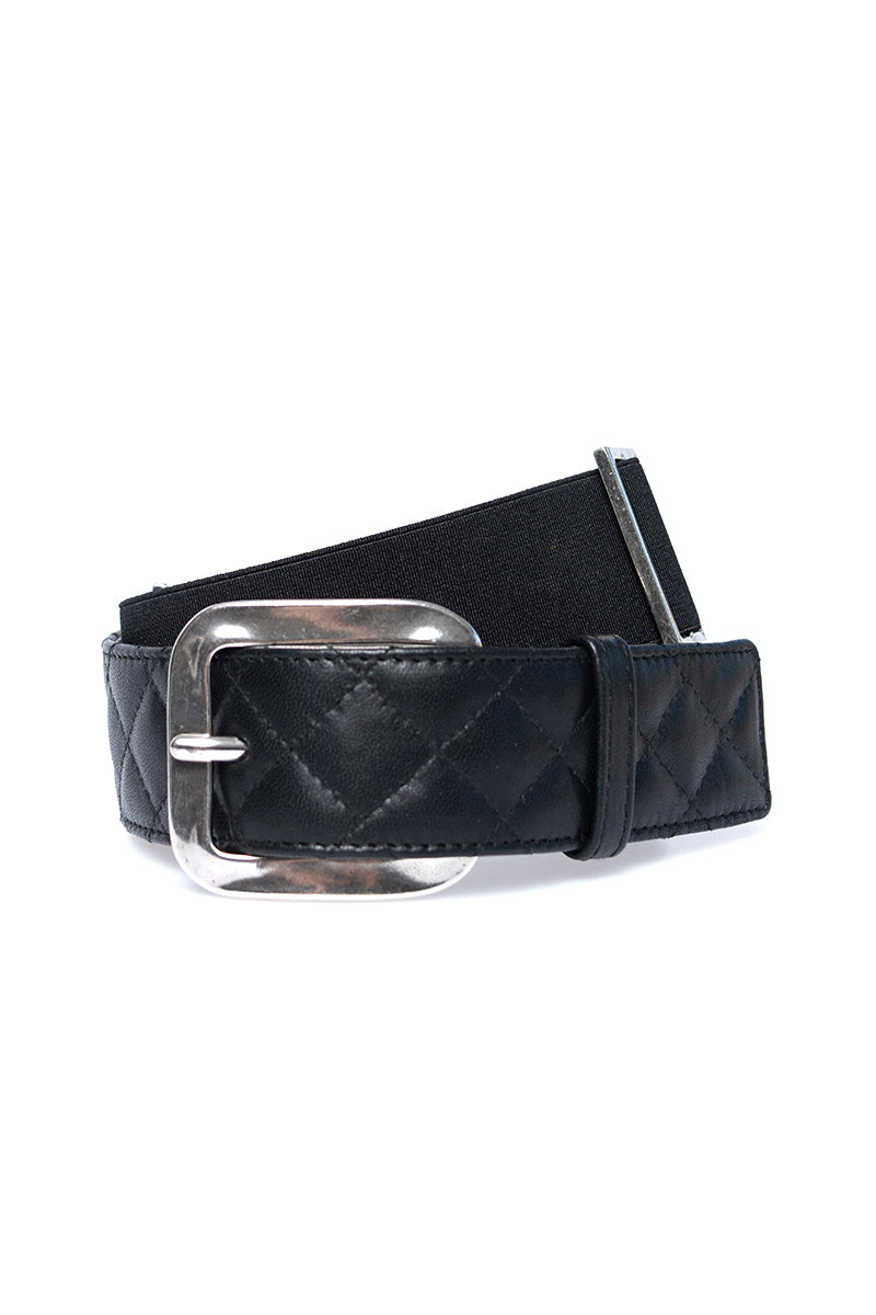 Quilted Leather Belt in Black