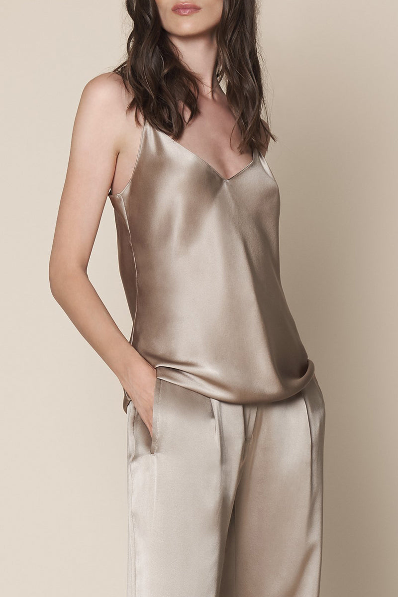 Gloria Silk Tank in Taupe