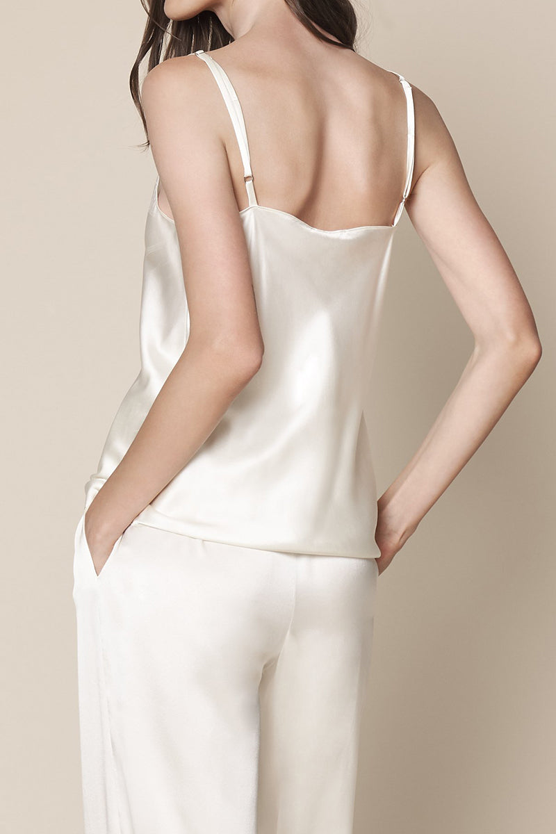Gloria Silk Camisole Tank in Winter White