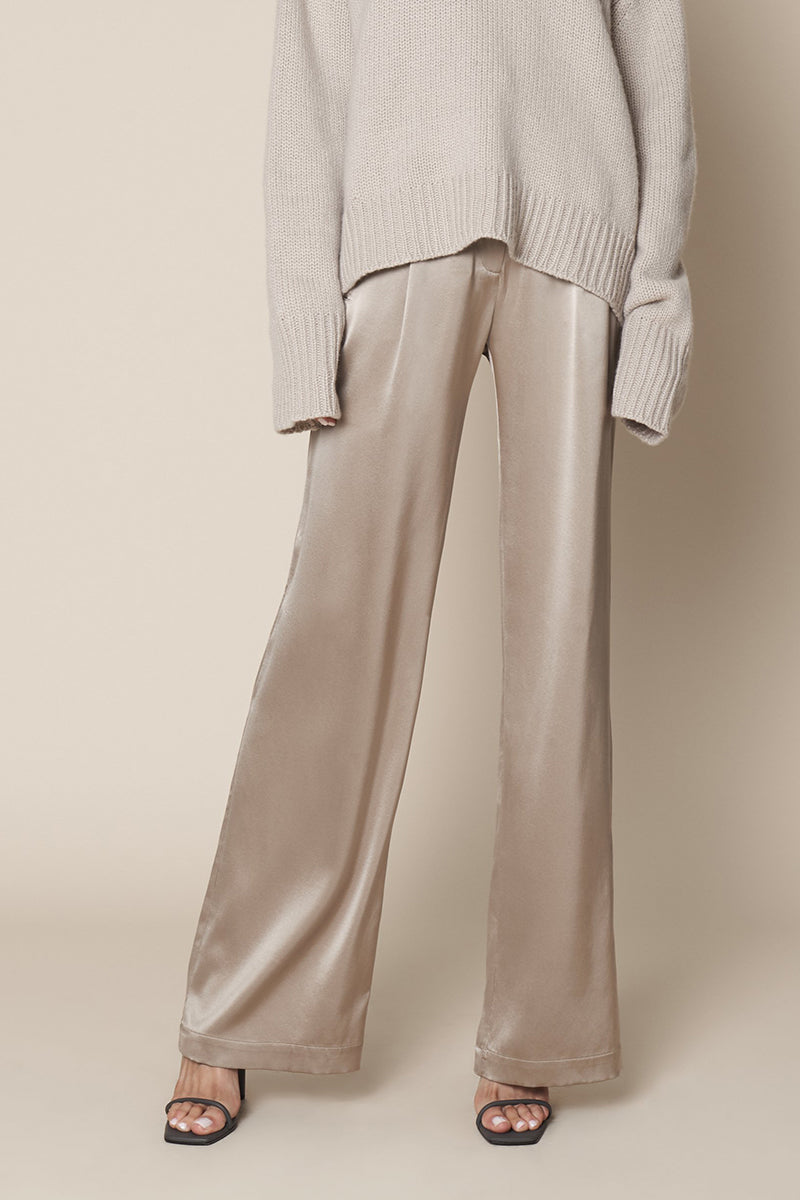 Penelope Full Length Silk Pant in Taupe