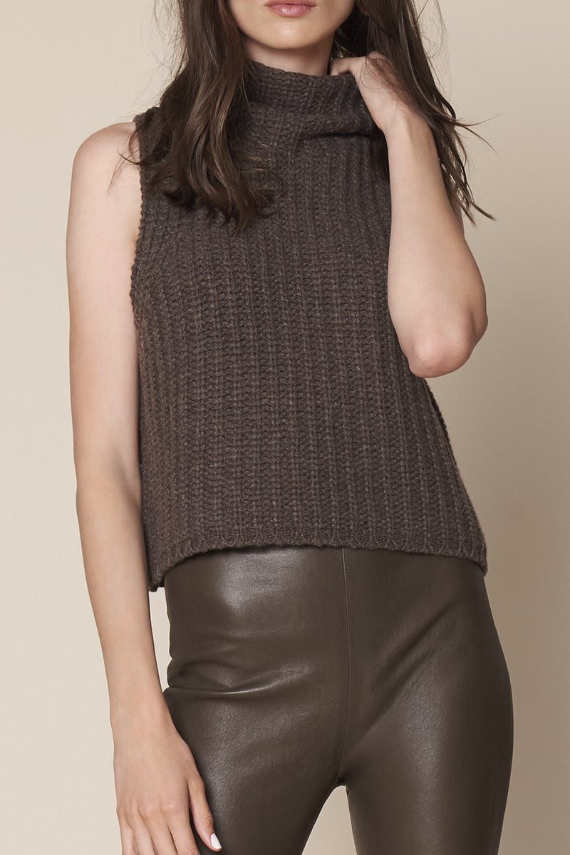 Saige Chunky Turtle Tank Top in Chocolate
