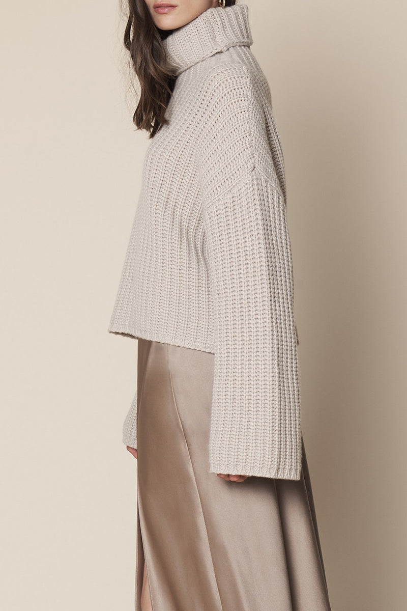 Sunny Cashmere Turtleneck Pullover in Taupe