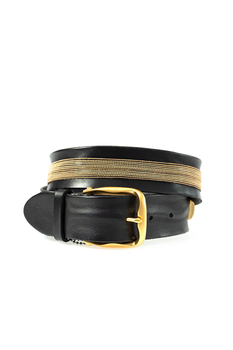 Gold and Black Marvel Wide Leather Belt