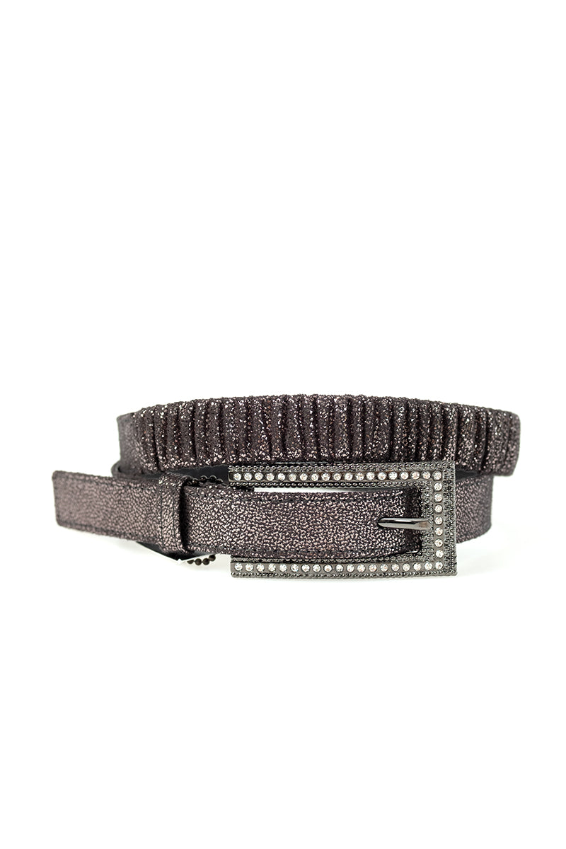 Liquid Metal Adjustable Leather Belt with Crystal Buckle