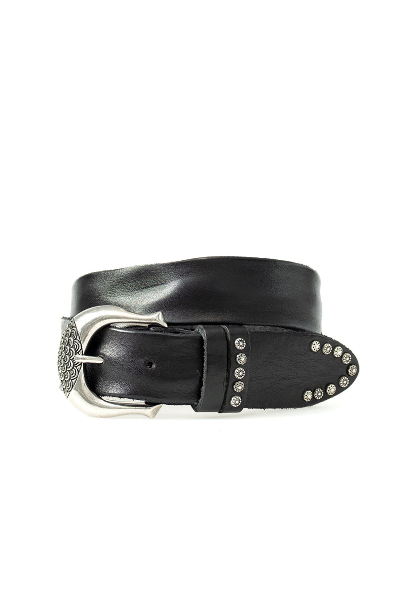 Wide Leather Belt in Black with Silver Buckle