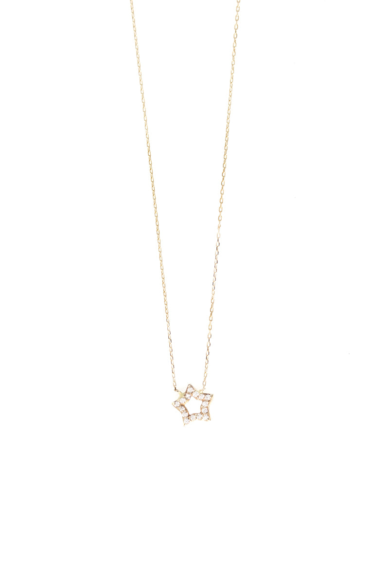 14k Yellow Gold Pavé Crystal Baby Star Necklace