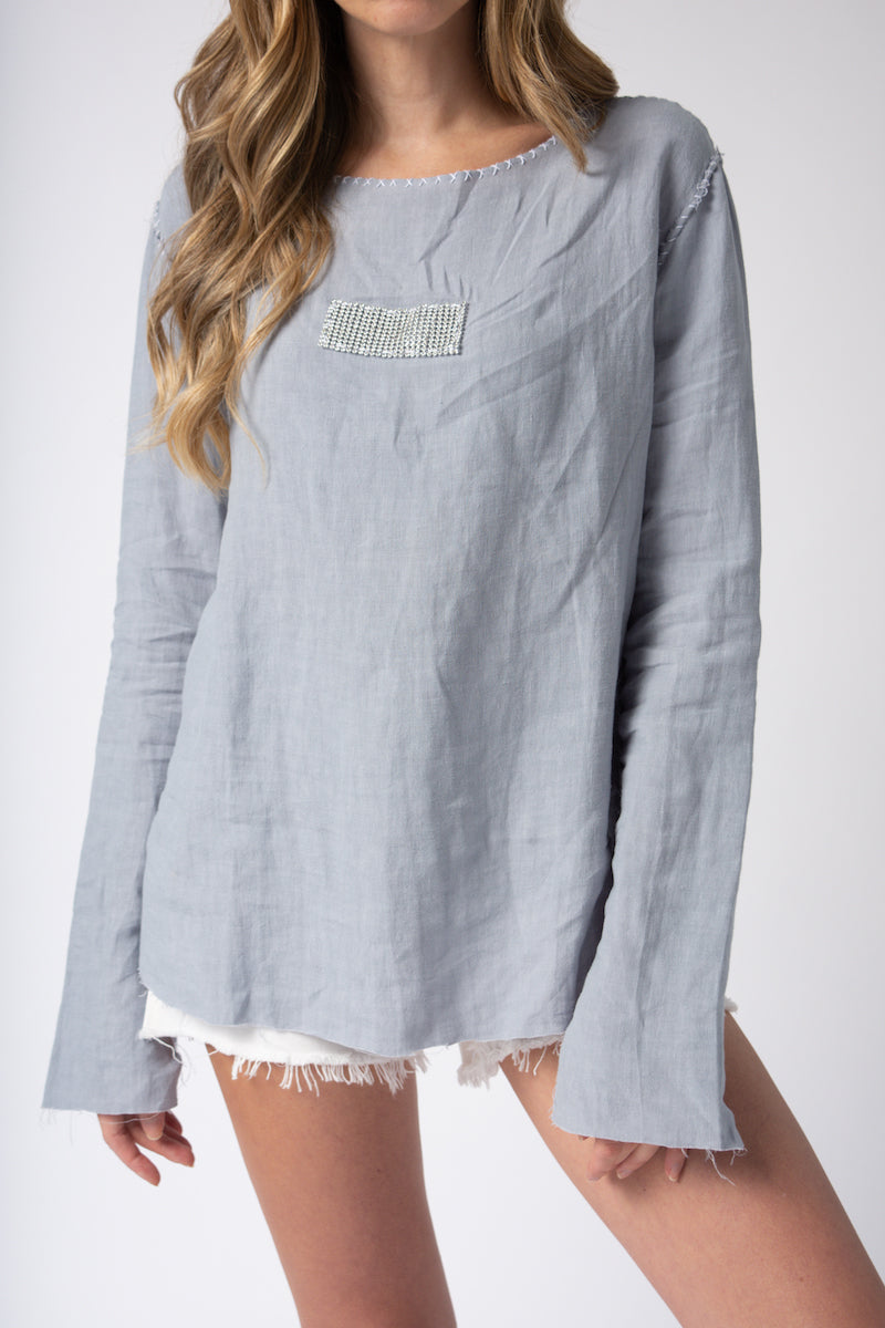 Linen Top in Grey with Sparkle Bar