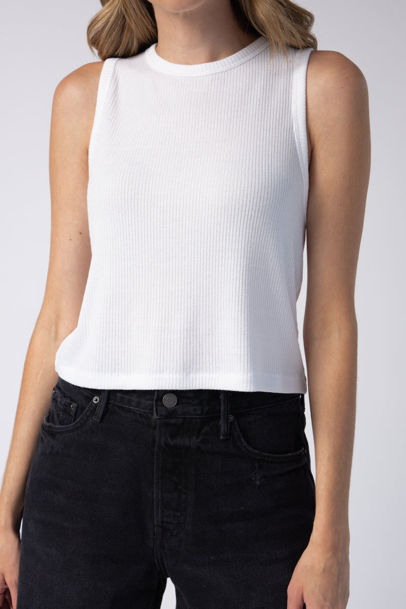 The Knit Rib Cropped Tank in White