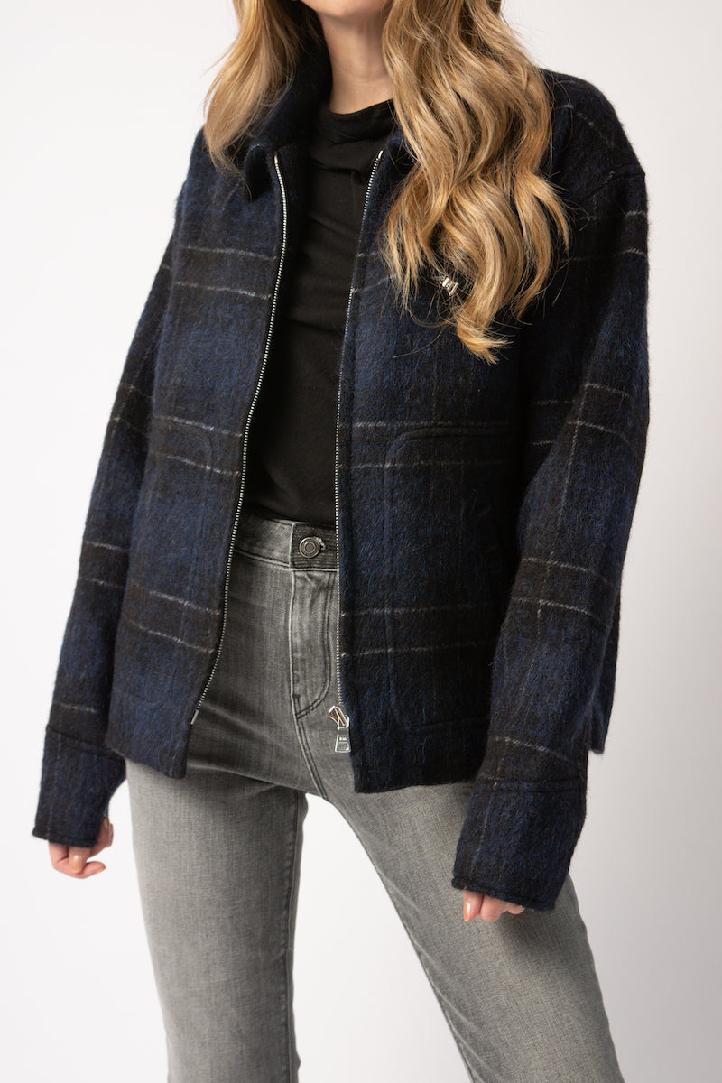 Reese Jacket in Navy Plaid