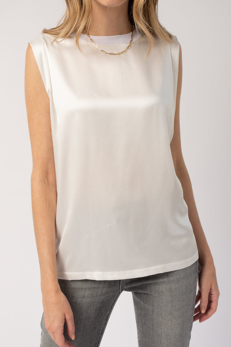 Tyler Pleated Top in White