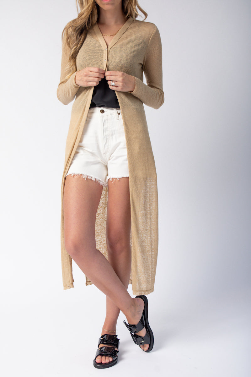 Snap V-Neck Cardigan in Beach
