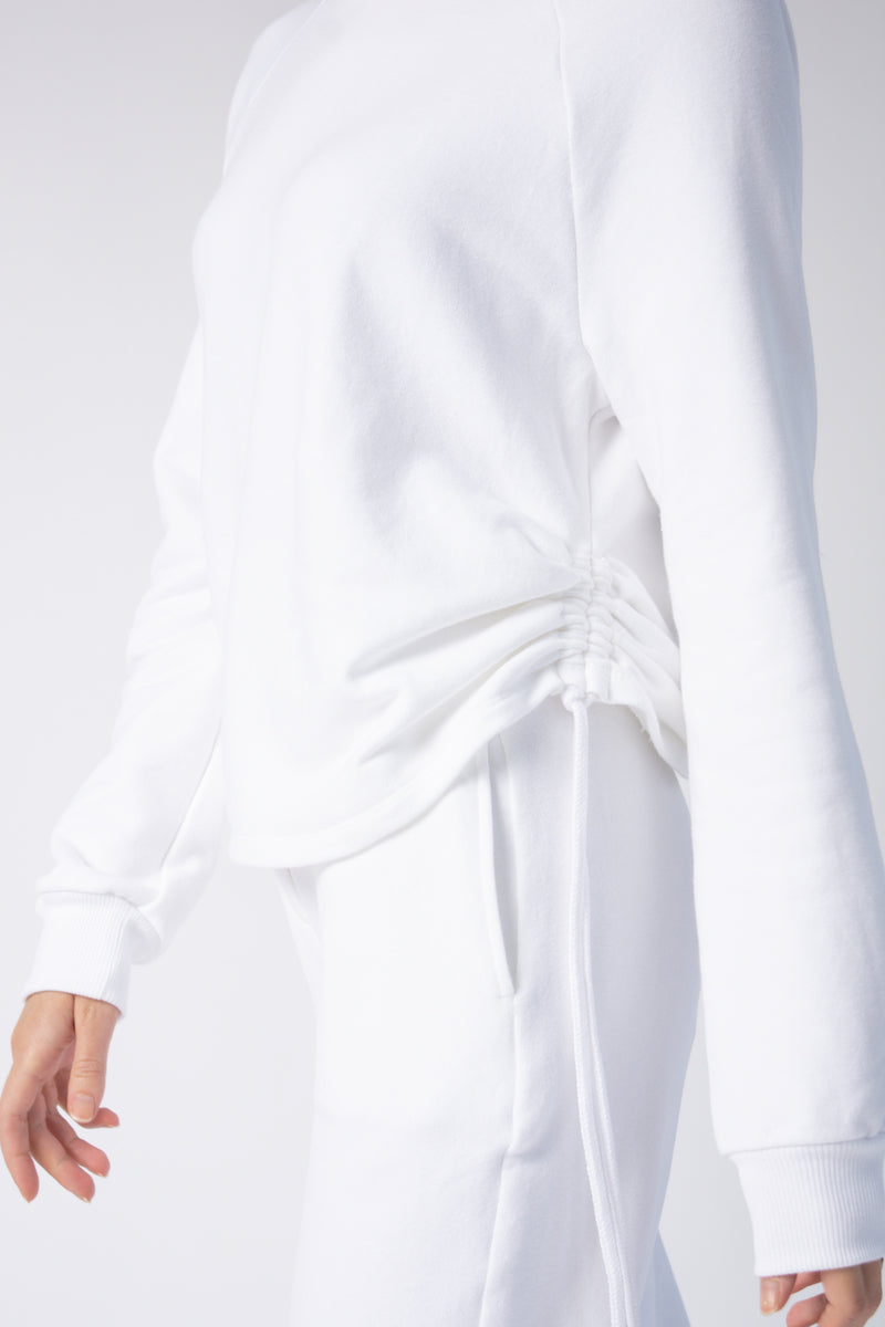 Drawcord Cowl Neck Sweatshirt in White
