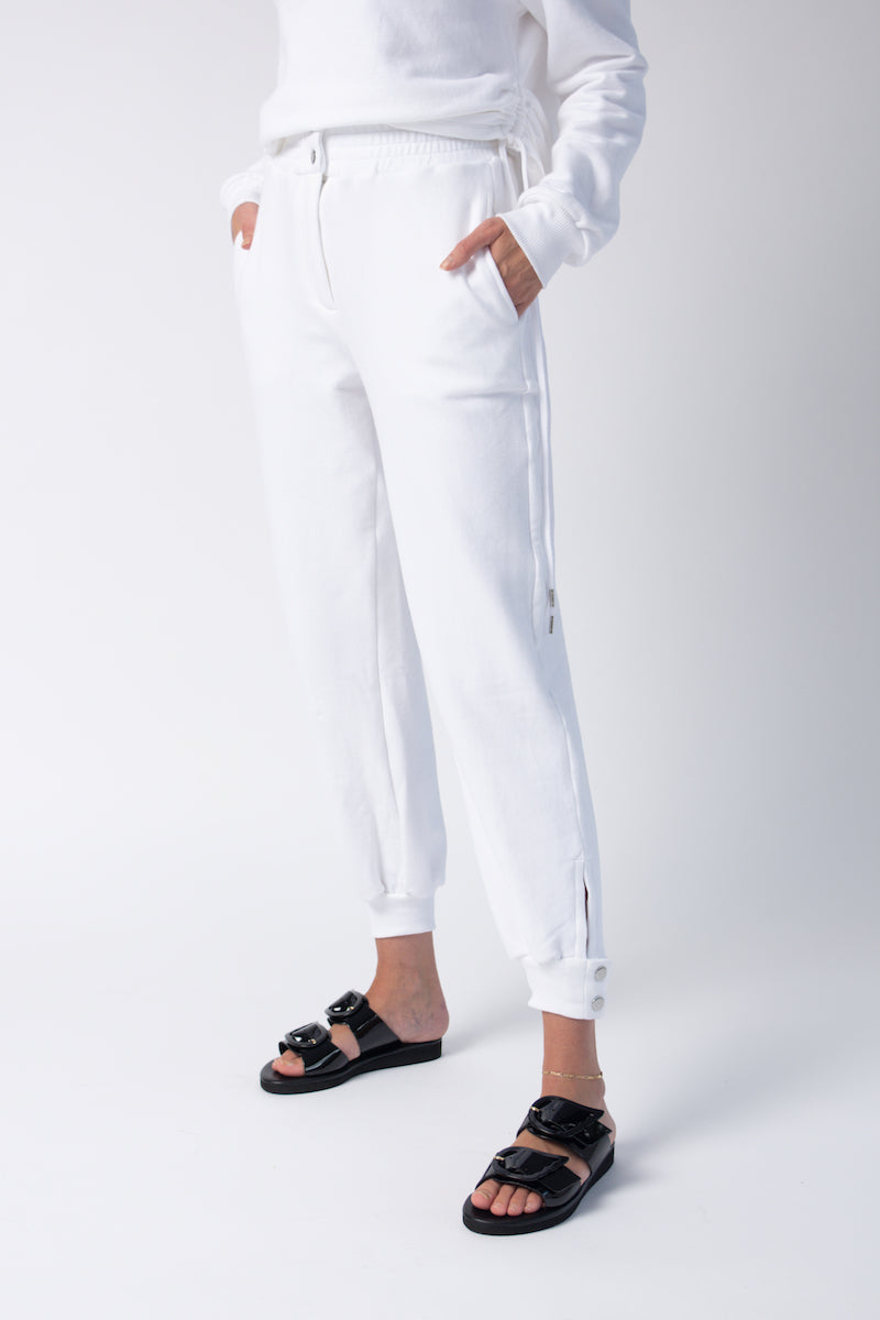 Knit Snap Track Pants in White