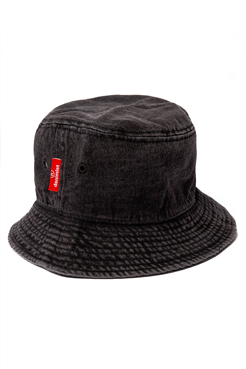 Bucket Hat in Washed Black Denim