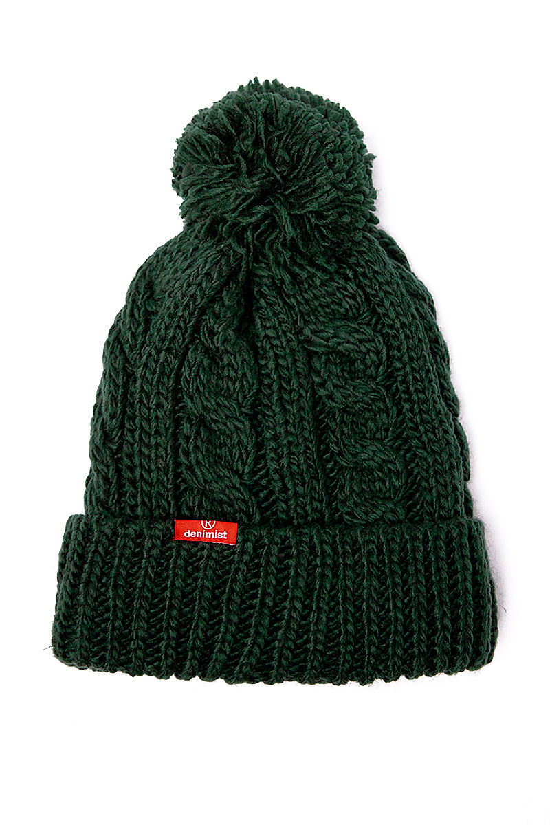 Pompom Beanie in Forest Green