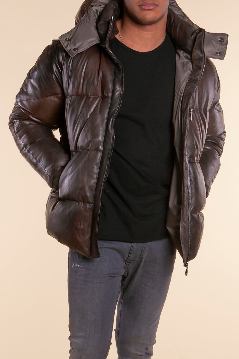 Leather Puffer Coat in Chocolate