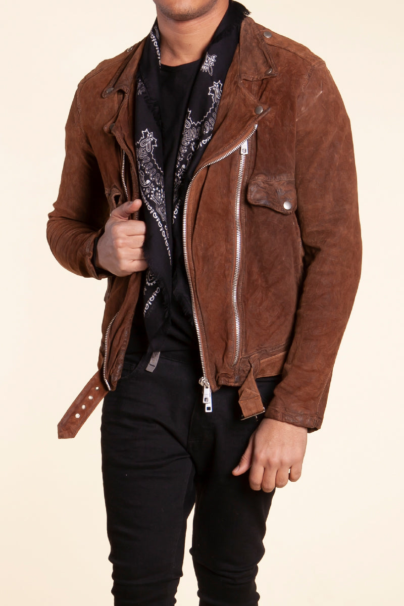 Suede Leather Jacket in Sigaro