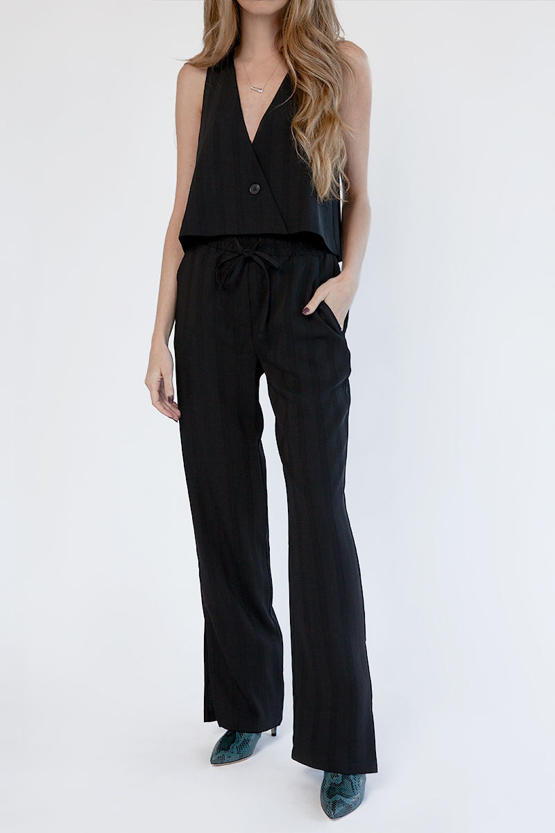 Tonal Stripe Split Wide Leg Pants in Black