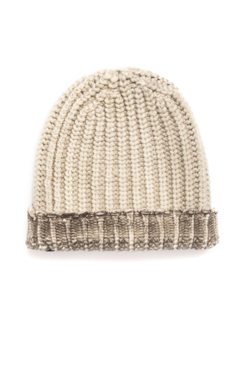 Bicolor Beanie Hat with Destroyed Effect in Delfino Taupe