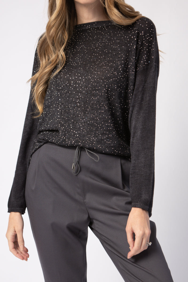Pullover Sweater with Studs and Strass in Nero