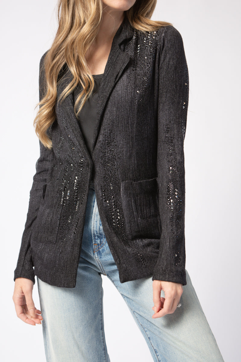 Blazer with Studs and Strass in Nero