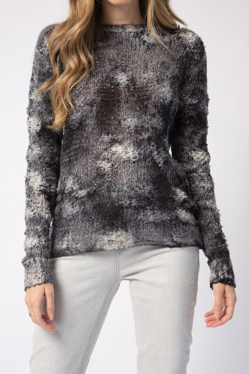 Brushed Cashmere Pullover Sweater with Golden in Marmo