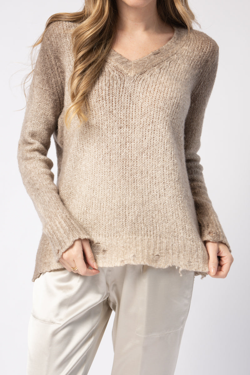 Brushed Pullover Sweater with Destroyed Edges in Taupe