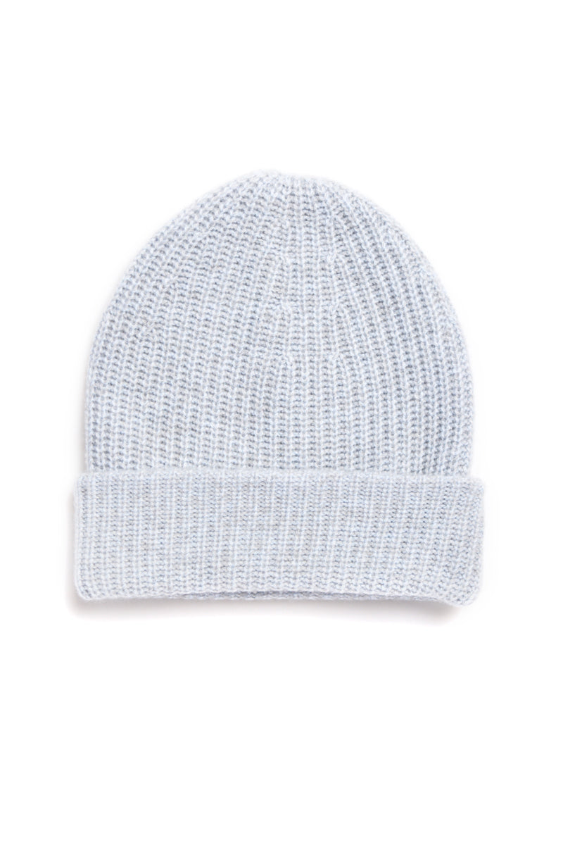 Cashmere Fat Hat Beanie in Blue Grey